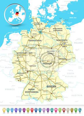 Szczegółowa mapa Niemiec z bańki 3D GPS markery