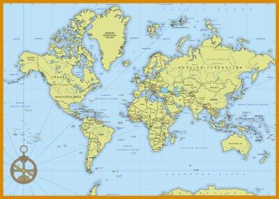 Obraz Szczegółowa mapa świata polityki