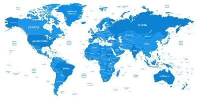 Obraz Szczegółowa mapa świata z granicami, krajami