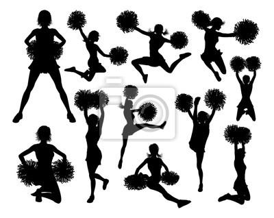 Obraz Szczegółowa sylwetka cheerleaderek z pomponami