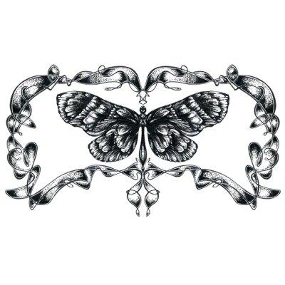 Obraz Szczegółowe wyciągnąć rękę Motyl sylwetka na białym tle
