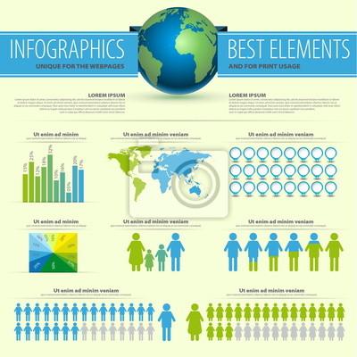 Szczegółowo infografika ilustracji wektorowych - Mapa Świata