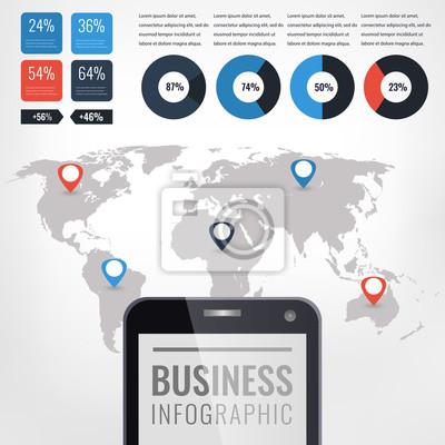 Szczegółowy ilustracja infografika wektorowych. Mapa świata i grafika informacyjne