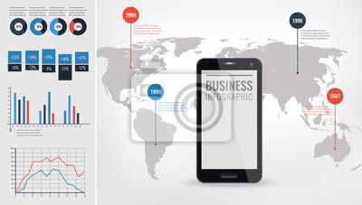 Szczegółowy ilustracja infografika wektorowych. Mapa świata i grafika informacyjne z ekranem dotykowym telefonu komórkowego.