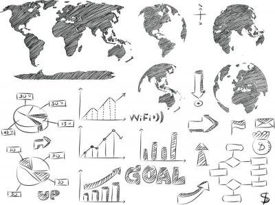 Szczegóły Infographic Vector Illustration Szkicowane. Mapa świata i grafika informacyjna, EOS 10.