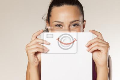 Obraz szczęśliwa i uśmiechnięta dziewczyna z uśmiechem malowane na papierze