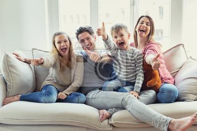 Obraz Szczęśliwa rodzina: matka, ojciec, syn dzieci i córka