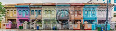 Obraz Szeroki panorama wizerunek Kolorowy Peranakan dom przy Katong, Singapur