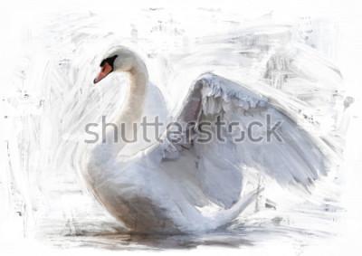 Obraz szkic biały łabędzia / obraz olejny