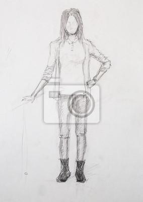 Obraz Szkic Dziewczyny Rysunek Ołówkiem Na Wymiar Sztuka