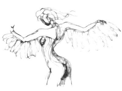 Obraz Szkic kobiety latającej