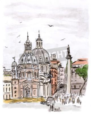Obraz Szkic placu w Rzymie, akwarela, Ilaly