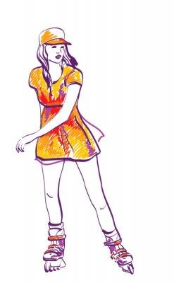Obraz Szkic rolkach nastolatka. Ręcznie rysowane ilustracji.