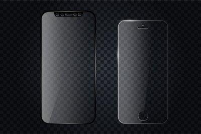 Szklana osłona ekranu lub szklana osłona. Wektor screen protector na smartfona. Mobilne akcesorium do wyświetlania na ekranie. Akcesoria mobilne. Wektorowa ilustracja EPS10