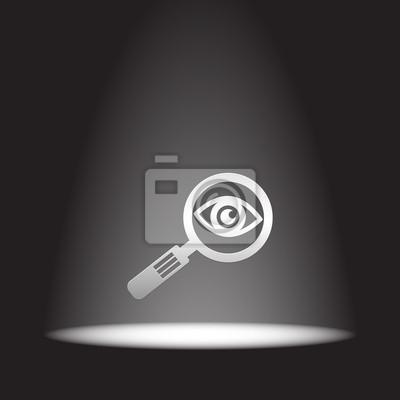 szkło powiększające i ikon wektorowych oczu