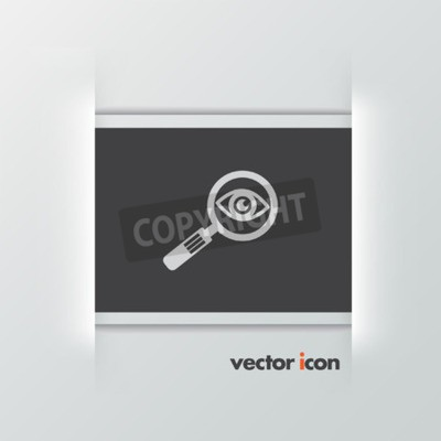 Szkło powiększające i oczu ikona wektor
