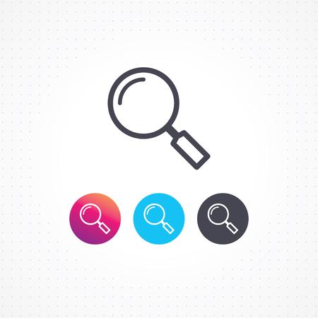 szkło powiększające lub ikona wyszukiwania linii, płaski styl ilustracji wektorowych na białym tle.