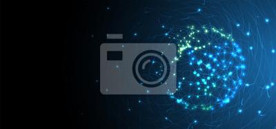 Obraz Sztuczna inteligencja. Tło sieci technologii. Wirtualna koncepcja