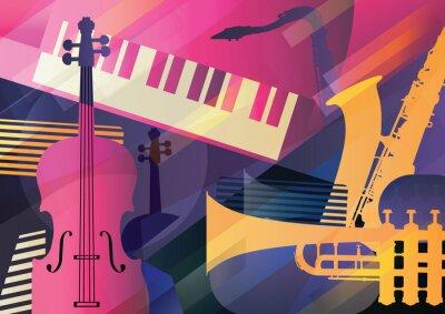 Obraz Sztuka abstrakcyjna jazzu, instrumenty muzyczne, trąbka, kontrabas, saksofon i fortepian.