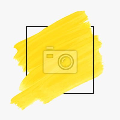 Obraz Sztuka abstrakcyjna tła pędzla farby projektowanie akrylowych plakat plakat nad kwadratowych ramki ilustracji wektorowych. Rough ręcznie malowane wektor papieru. Doskonały wzór na nagłówek, logo i ban