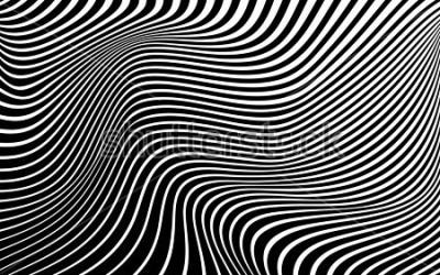 Obraz sztuka optyczna streszczenie tło fala projekt czarno-biały