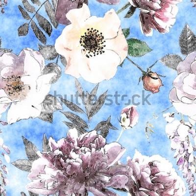 Obraz sztuka rocznika ołówek i akwarela kolorowy kwiatowy wzór z białych i fioletowych róż i piwonie na jasnoniebieskim tle