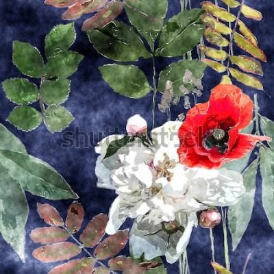 Obraz sztuka sztuka akwarela kolorowy kwiatowy wzór bez szwu z czerwonymi i białymi makami, piwonie, liście i trawy na ciemnym niebieskim tle