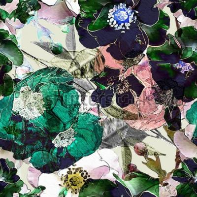 Obraz sztuka vintage ołówek kwiatowy kolorowy wzór bez szwu z czarnymi różami i zielonymi makami na jasnym tle. Podwójna ekspozycja i efekt Bokeh