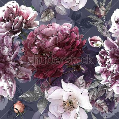 Obraz sztuka vintage ołówek kwiatowy kolorowy wzór z białych róż i fioletowe piwonie na tle. Podwójna ekspozycja i efekt bokeh