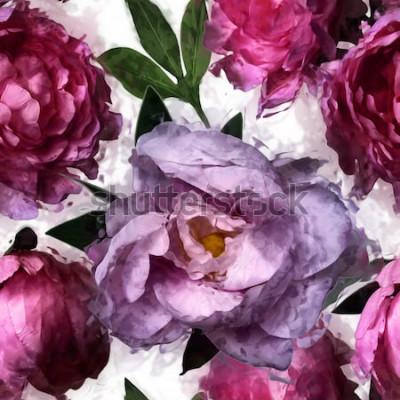Obraz sztuka wzór kwiatowy wzór bez szwu z różowe i liliowe piwonie na białym tle