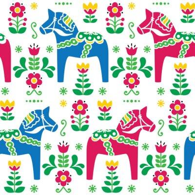 Obraz Szwedzka sztuka ludowa Dala lub Daleclarian koń bez szwu deseń