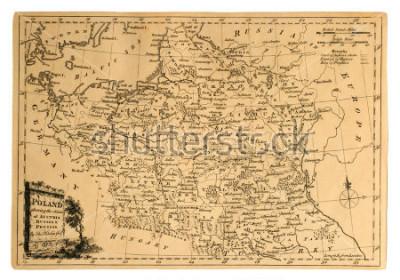 Obraz Ta zabytkowa mapa Polski została wydrukowana w 1773 roku, aby pokazać rozbiory kraju.