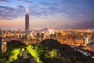 Obraz Taipei, Tajwan panoramę miasta o zmierzchu.