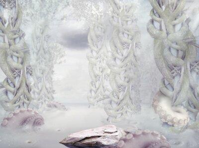 Obraz Tajemnica. Surrealistyczny Tajemniczy Las Biały