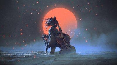 Obraz tajemniczy mężczyzna siedzi na krześle, grając na wiolonczeli w morze aginst na nocnym niebie z czerwonym księżycem, cyfrowy styl, malarstwo ilustracja