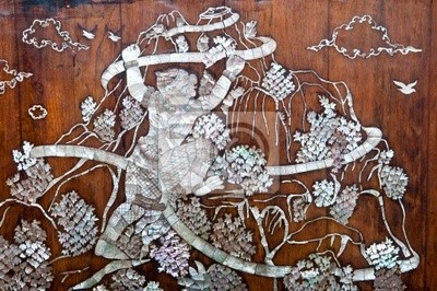 Tajski styl sztuki na ścianie wykonany z muszli perłowej
