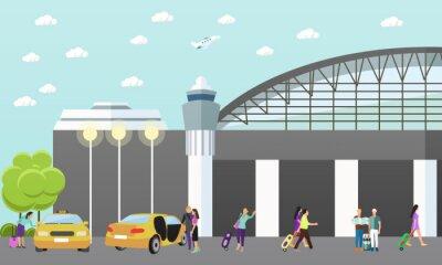 Taksówki firma pojęcie wektora transparentu. Ludzie złapać Yellow cab lotniska.