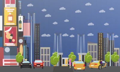 Taksówki koncepcji firma Wektor transparent. Ludzie złapać taksówkę na ulicy