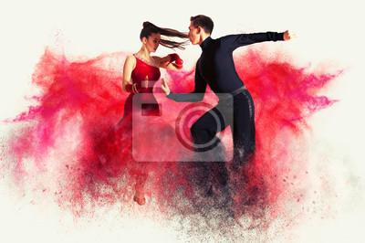 Obraz Tańcząca sala balowa. Efekt kolorowego pyłu