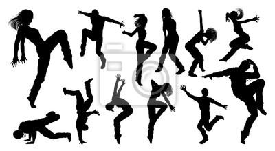 Obraz Tańczące sylwetki tancerzy ulicznych