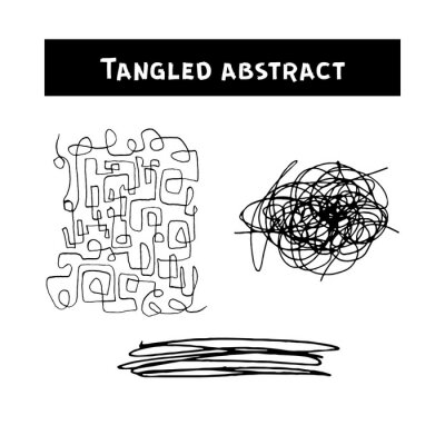 Tangled abstract scribble with hand drawn line. Doodle elements. Isolated sketch on white background. Vector illustration.