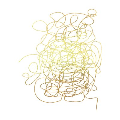 Tangled abstract scribble with hand drawn line in gold version. Doodle elements. Isolated sketch on white background. Vector illustration