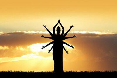 Obraz taniec indyjski o zachodzie słońca