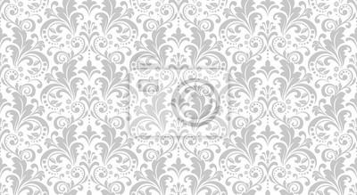 Obraz Tapeta w stylu baroku. Bezszwowe tło wektor. Biały i szary ornament kwiatowy. Wzór graficzny na tkaninę, tapetę, opakowanie. Ozdobny ornament kwiat adamaszku.