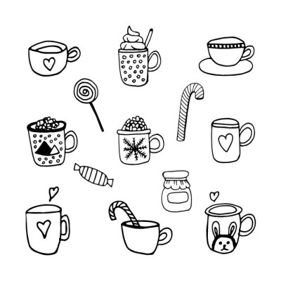 Tasty hand dawn vector set with coffee, cacao, warm beverage and candy. Doodle icon set for winter design and decoration. Isolated on white background