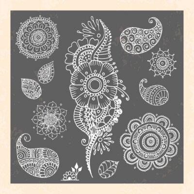 Obraz Tatuaż henna doodle elementy wektorowe na czarnym tle