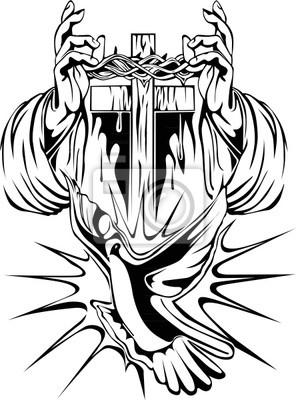 Tatuaż Ramię Krzyż Korona Cierniowa I Thea Gołąb Obrazy Redro