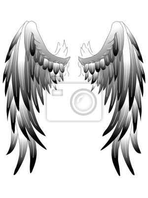 Obraz Tatuaż Szablon Skrzydła Anioła Na Wymiar Rysunek Liść