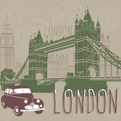 Obraz Taxi i architektury Londynu.