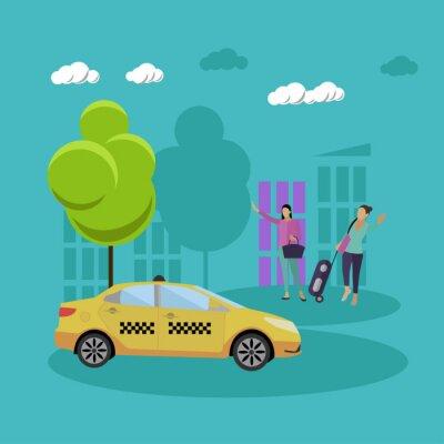 Taxi usługi firmy koncepcji wektora transparentu. Ludzie chwycają taksówkę na ulicy.
